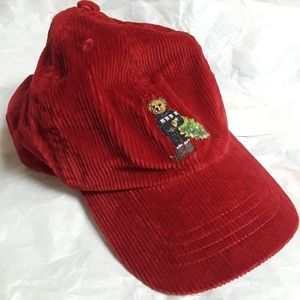 Lo life bear hat cap red Corduroy youth red Christ